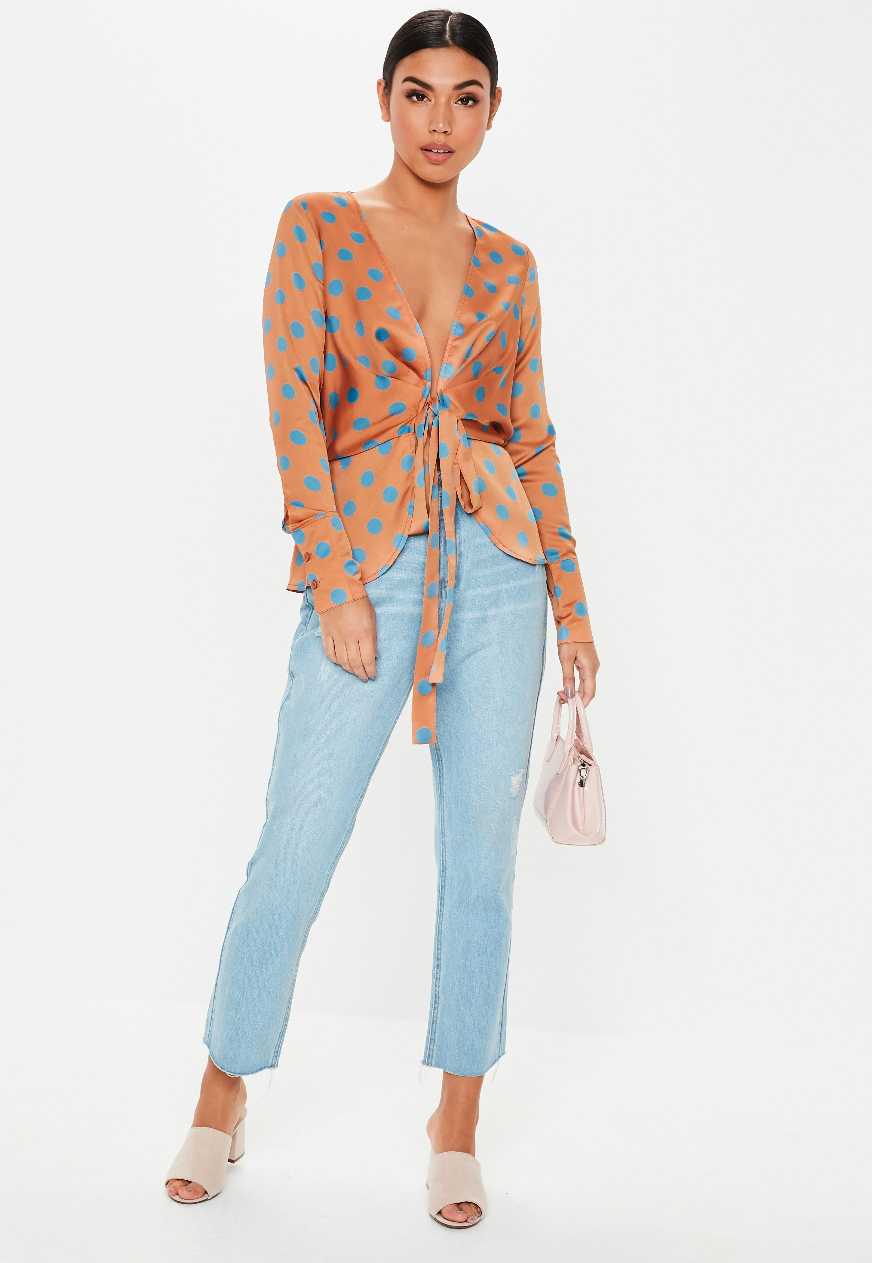b9e9055ce940e9 Lyst - Missguided Rust Polka Dot Tie Front Plunge Blouse in Orange