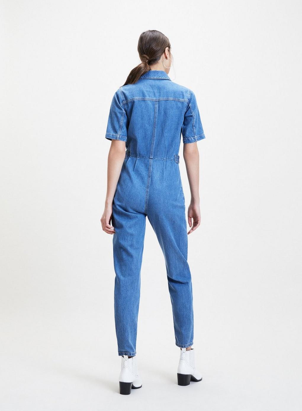 a05ce66d8c0 Lyst - Miss Selfridge Blue Short Sleeve Boiler Jumpsuit in Blue