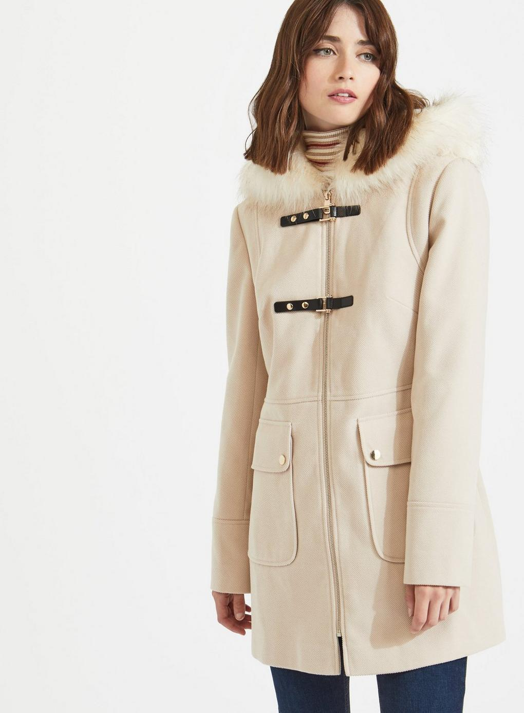 dc275d8c933 Miss Selfridge Oatmeal Toggle Duffle Coat in Natural - Lyst