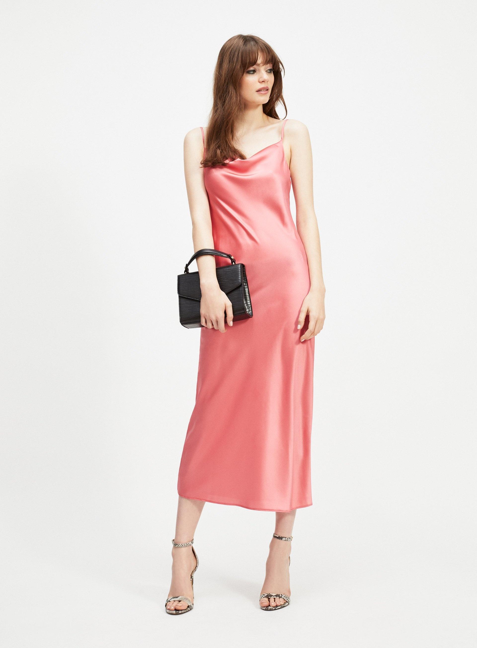 9a8a984187580 Miss Selfridge Coral Cowl Neck Midi Slip Dress in Pink - Lyst