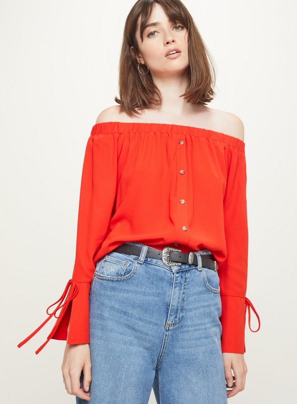 08d403d3b7620 Miss Selfridge Red Button Detail Bardot Top in White - Lyst