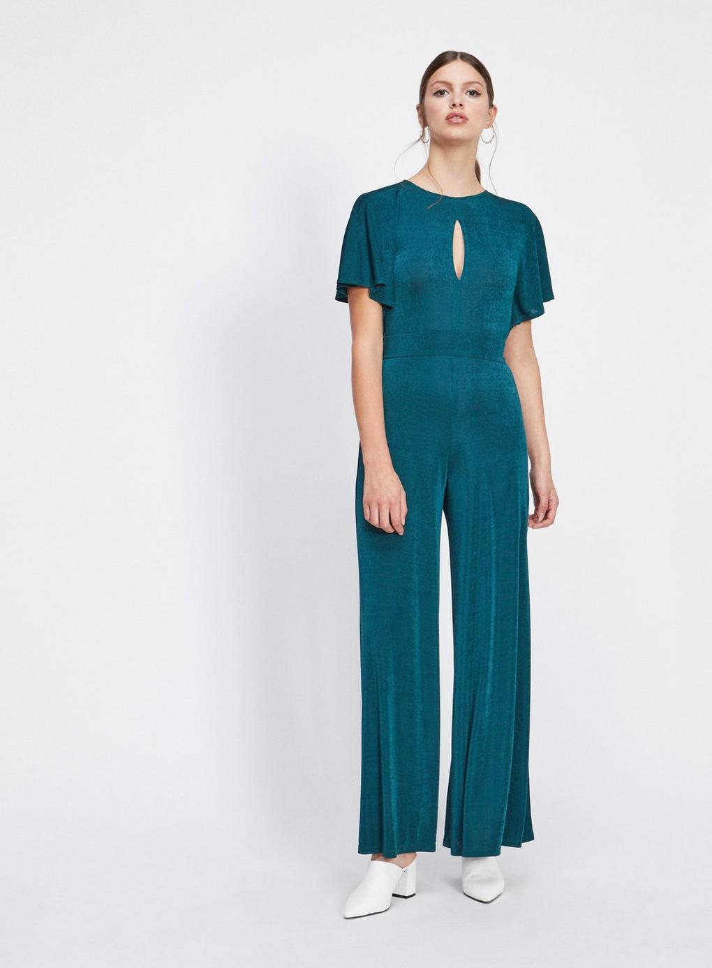 76bdca66651 Miss Selfridge Slinky Angel Wide Leg Jumpsuit in Blue - Lyst