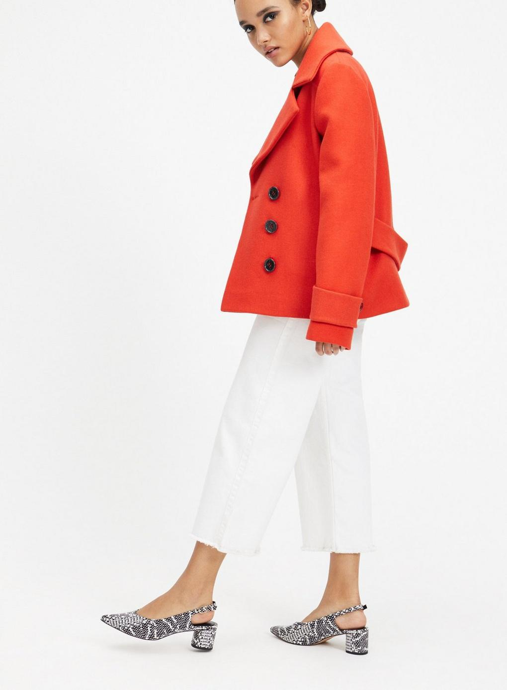 b9a4687b38a Miss Selfridge - Red Short Pea Coat - Lyst. View fullscreen