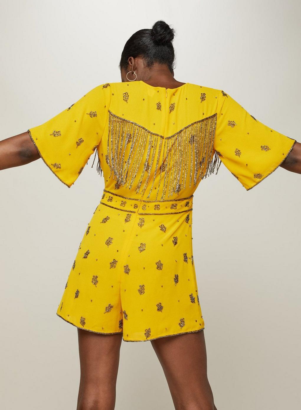98121667008 Miss Selfridge - Yellow Embellished Ochre Playsuit - Lyst. View fullscreen