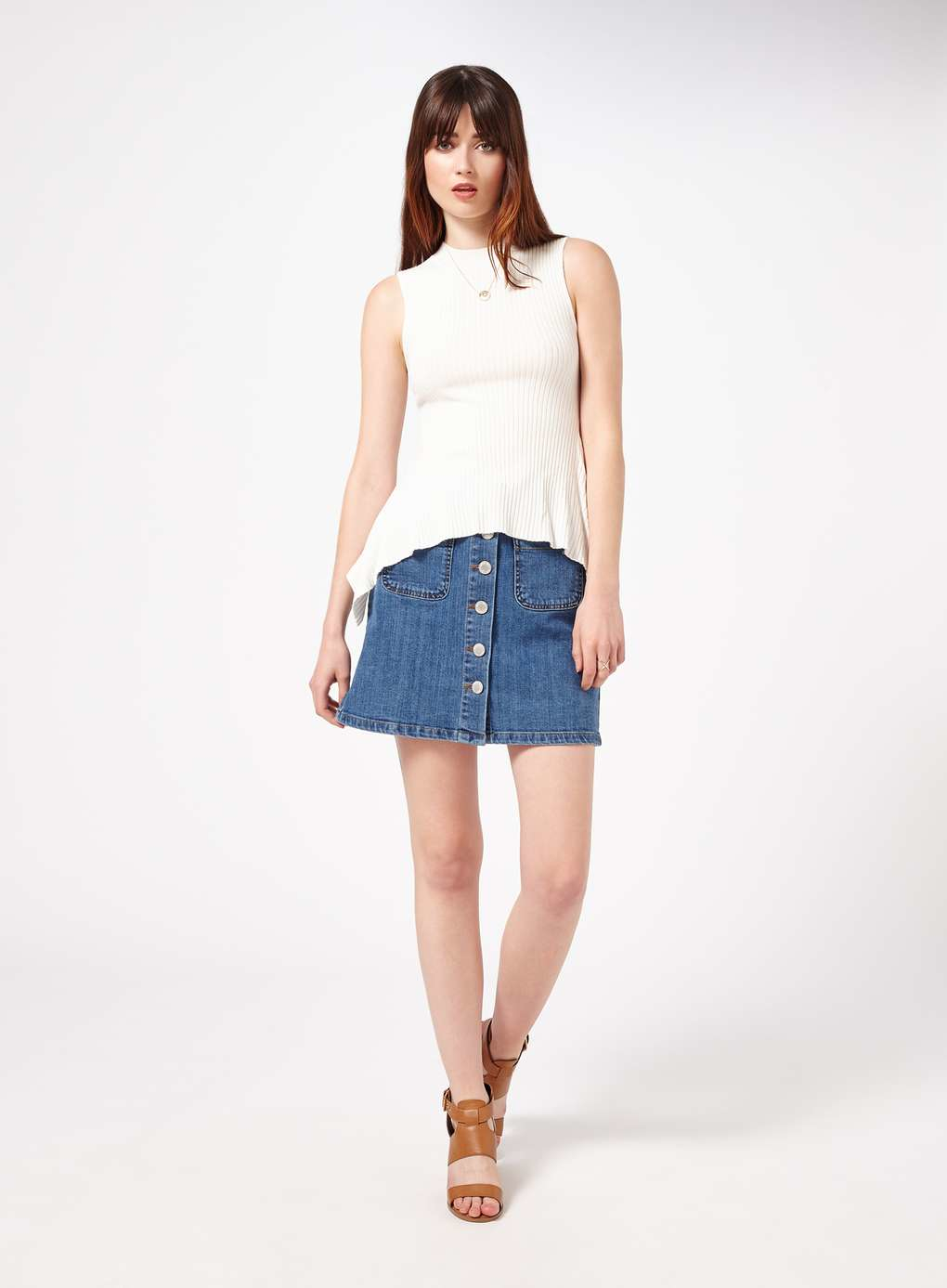 miss selfridge mid wash denim skirt in blue mid wash