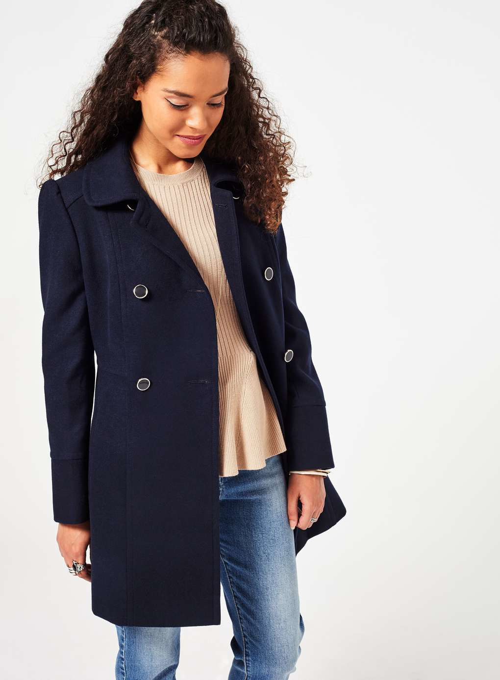 841f3a28511 Lyst - Miss Selfridge Petite Double Breasted Pea Coat in Blue