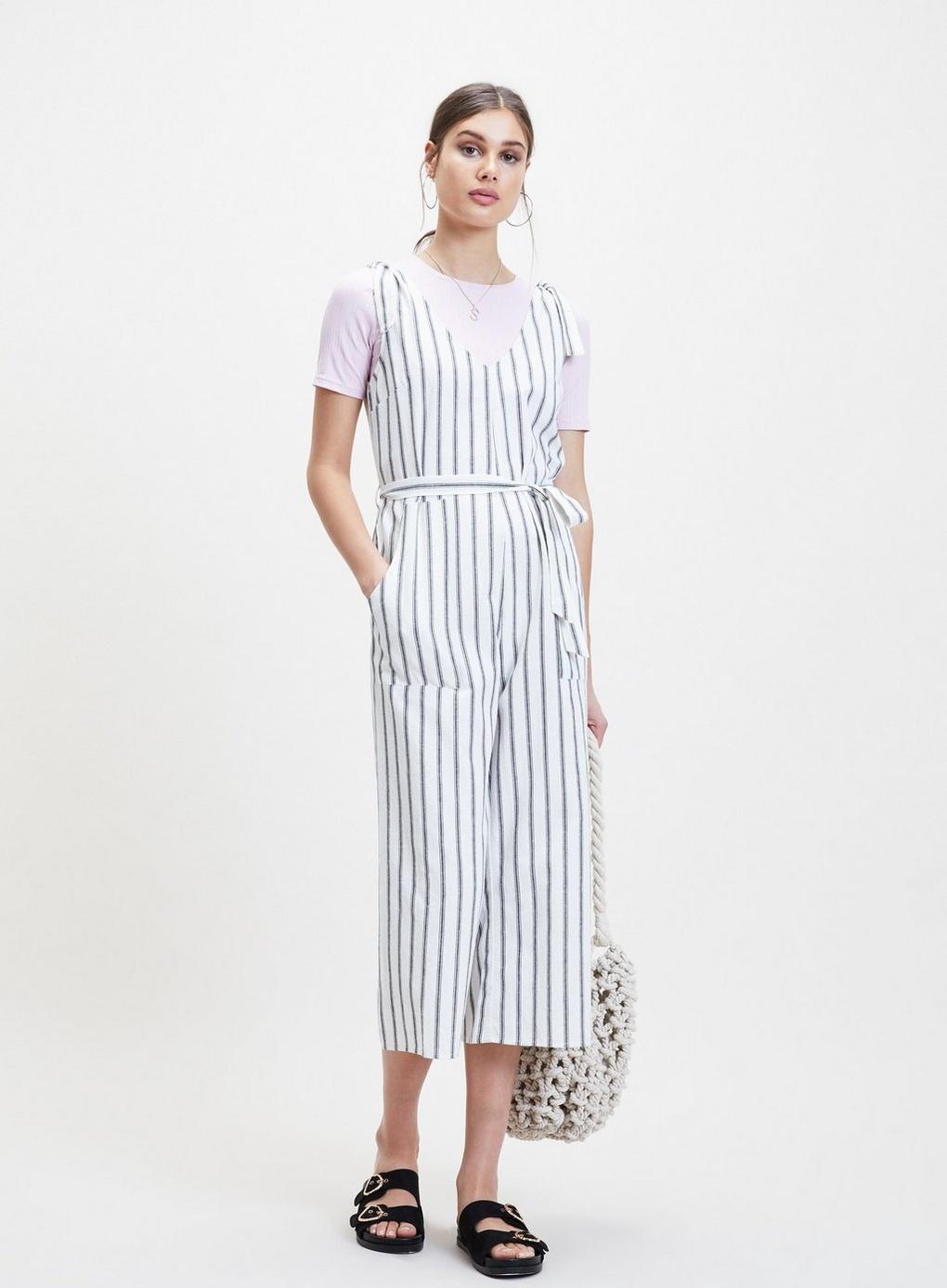 260f826bd37 Miss Selfridge White Linen Striped Tie Jumpsuit in White - Lyst