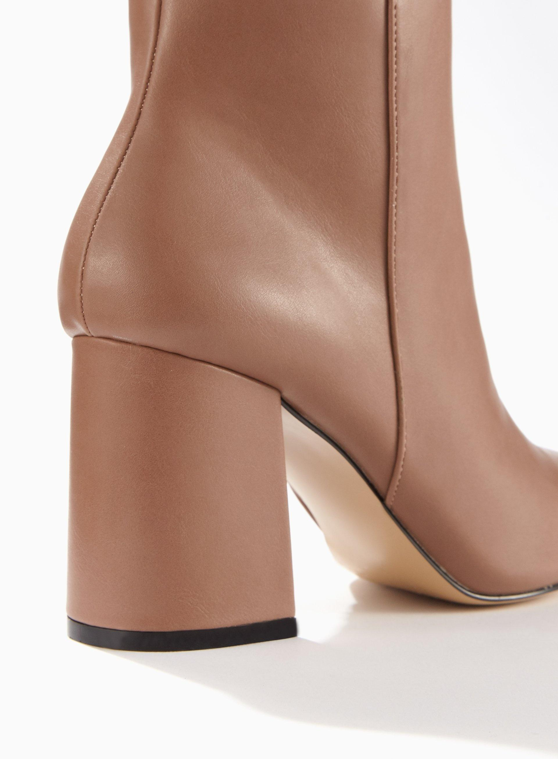 279a725fd Miss Selfridge Anastasia Nude Pointed Toe Ankle Boots in Natural - Lyst