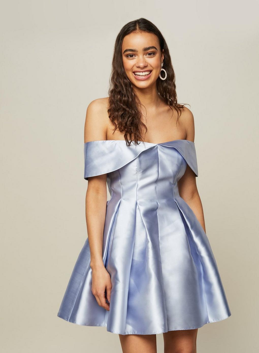 Lyst Miss Selfridge Petite Blue Bardot Prom Dress In Blue