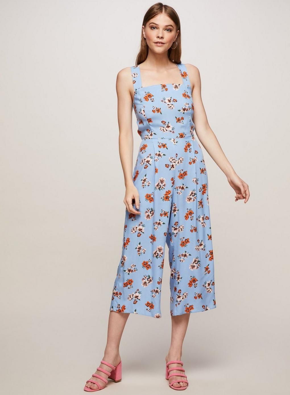 36a003e4999c Miss Selfridge Floral Pinny Jumpsuit in Blue - Lyst