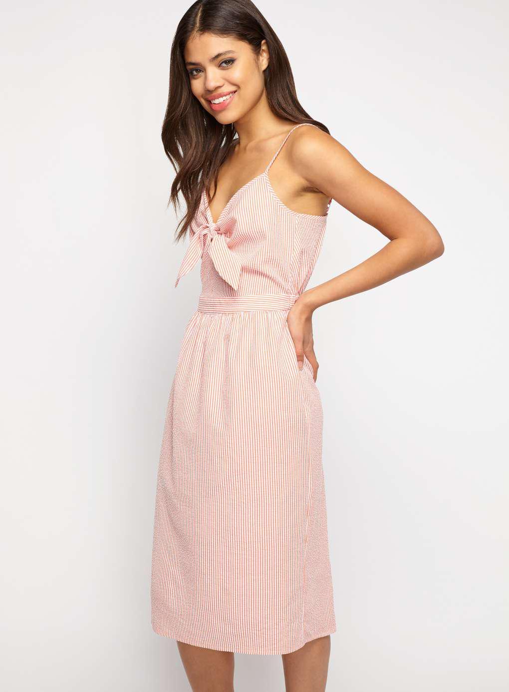 531e9e570a Miss Selfridge Coral Ticking Stripe Knot Dress in Pink - Lyst