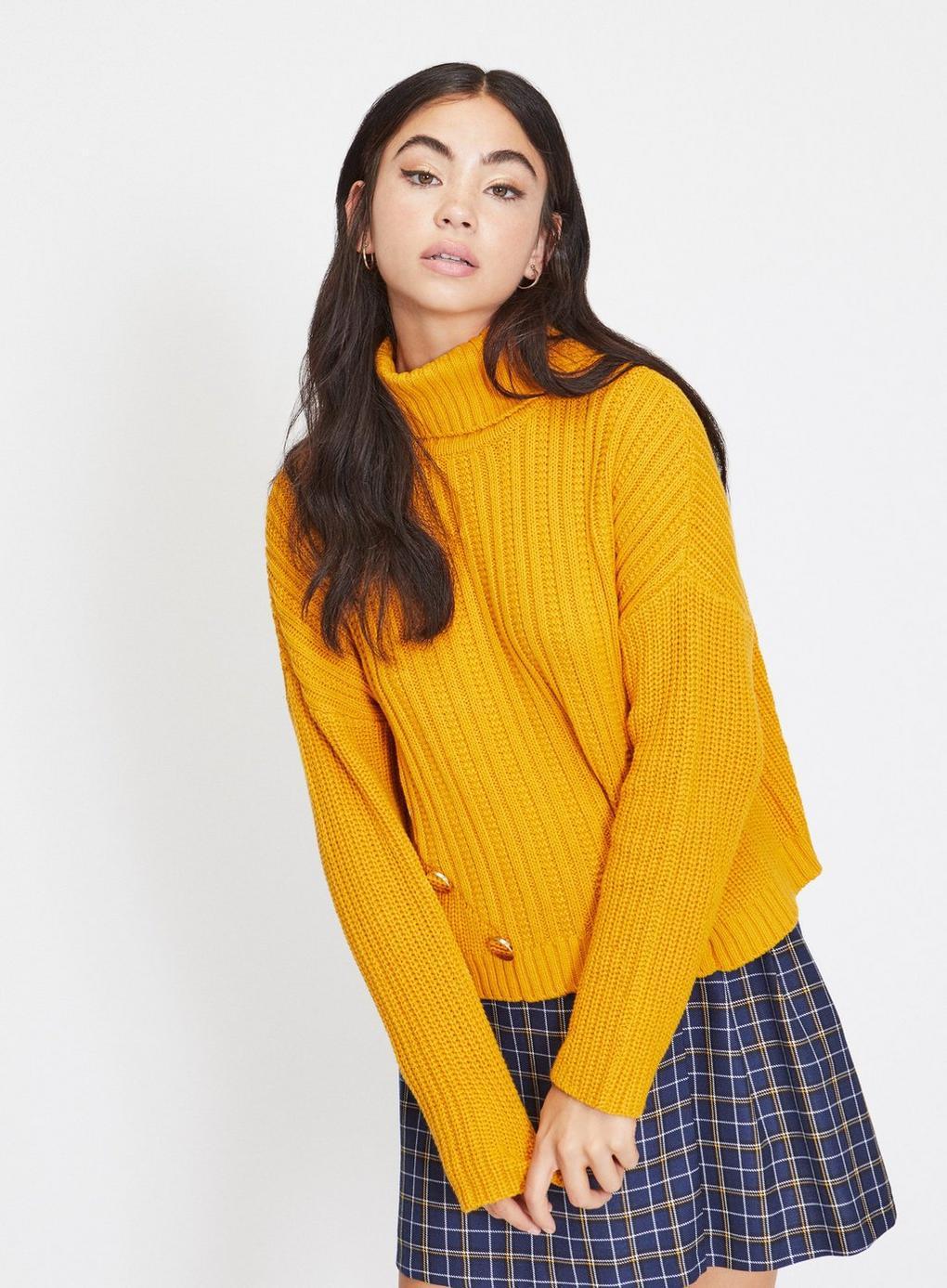 a8ea760404ec Miss Selfridge. Women s Yellow Petite Ochre Button Detail Knitted Jumper