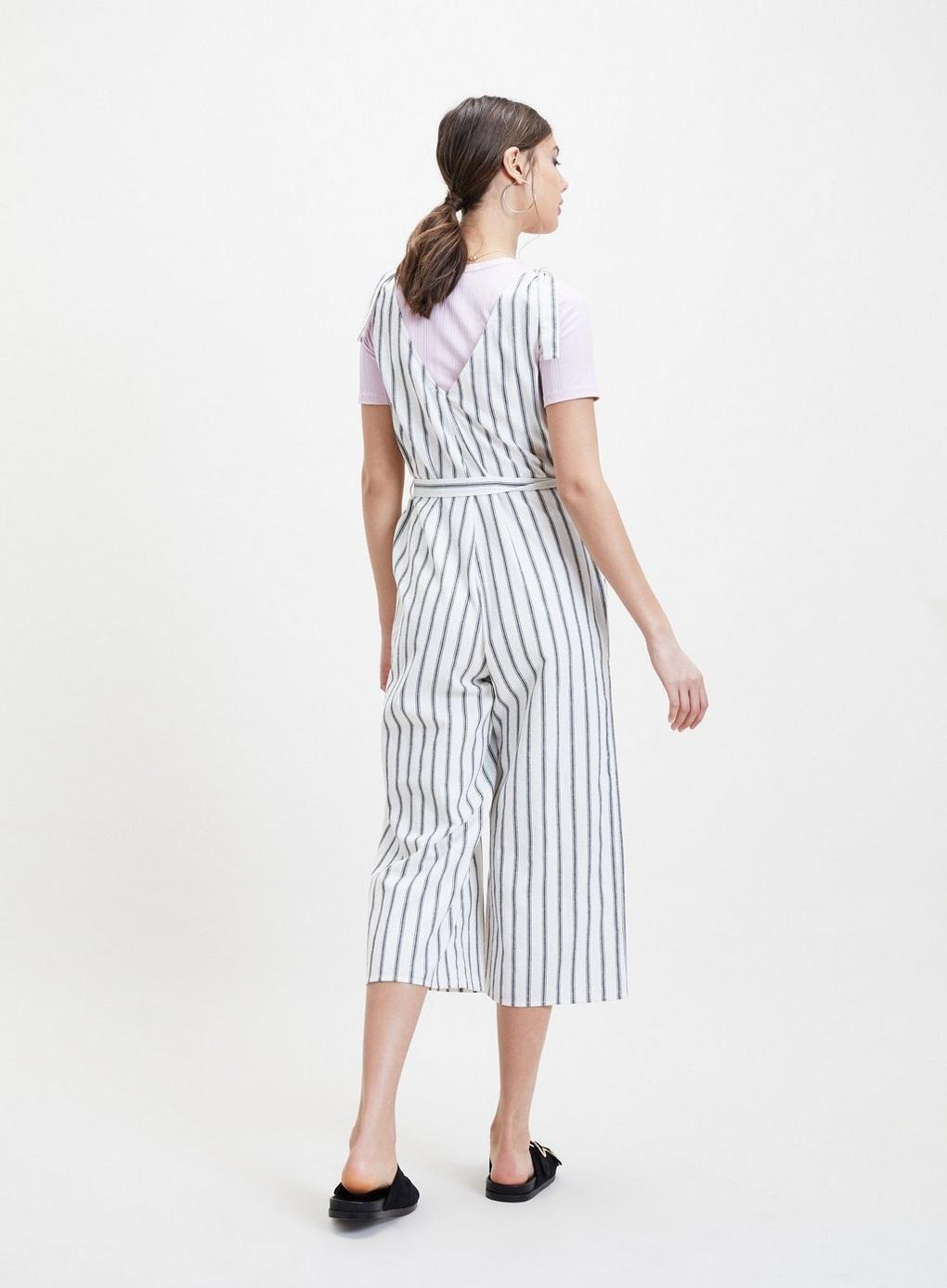 8b53048d0db Miss Selfridge - White Linen Striped Tie Jumpsuit - Lyst. View fullscreen