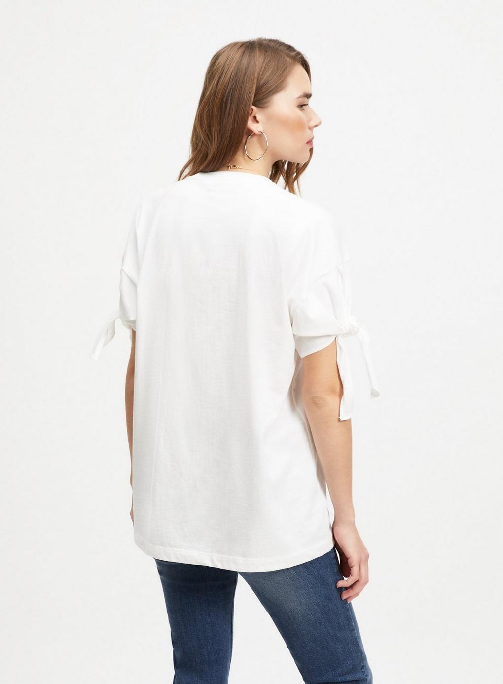 965fef7d2588cd Miss Selfridge White Longline Tie Sleeve T-shirt in White - Lyst