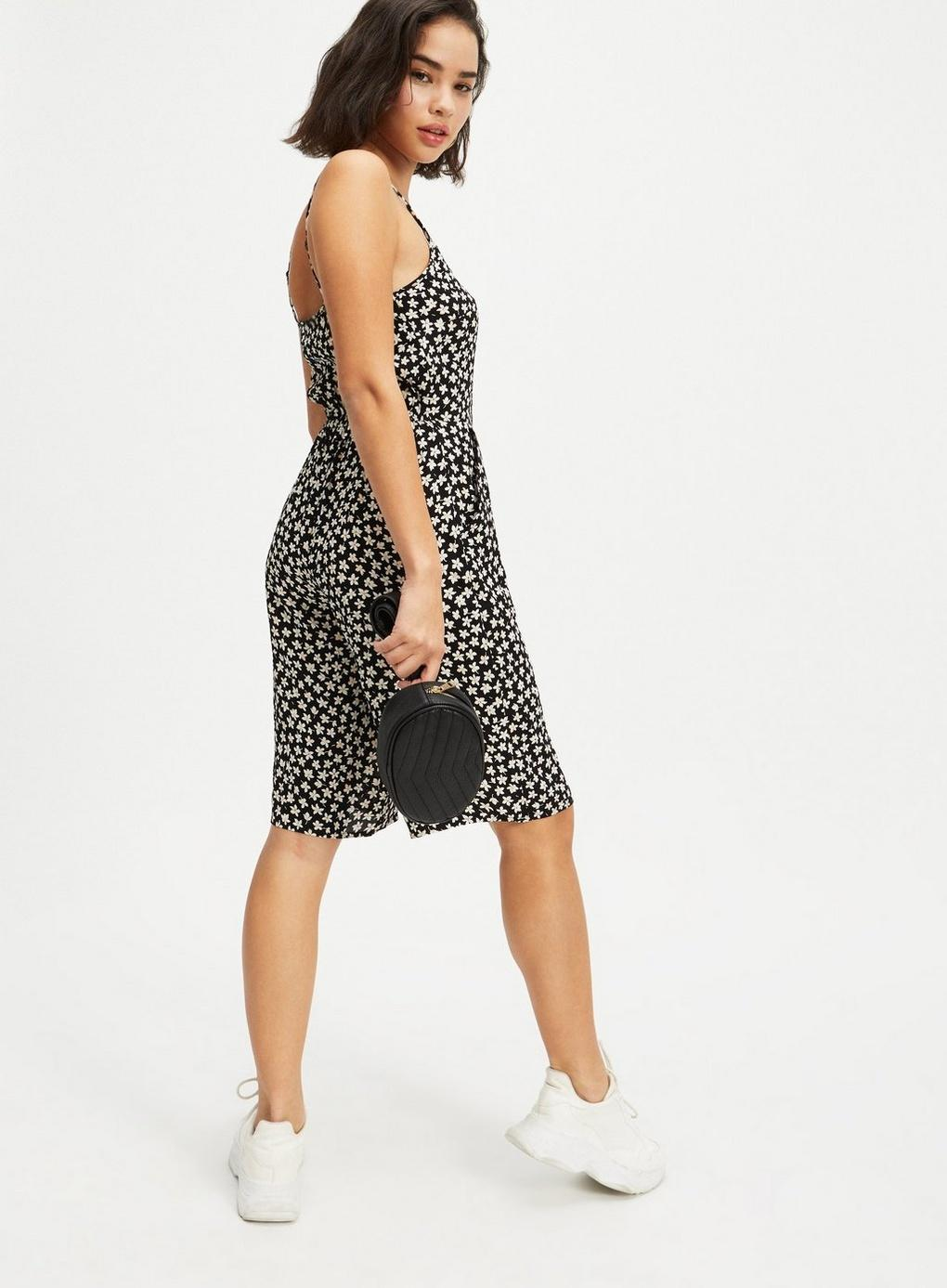 a1b05020b1d Miss Selfridge - Petite Black Ditsy Print Jumpsuit - Lyst. View fullscreen