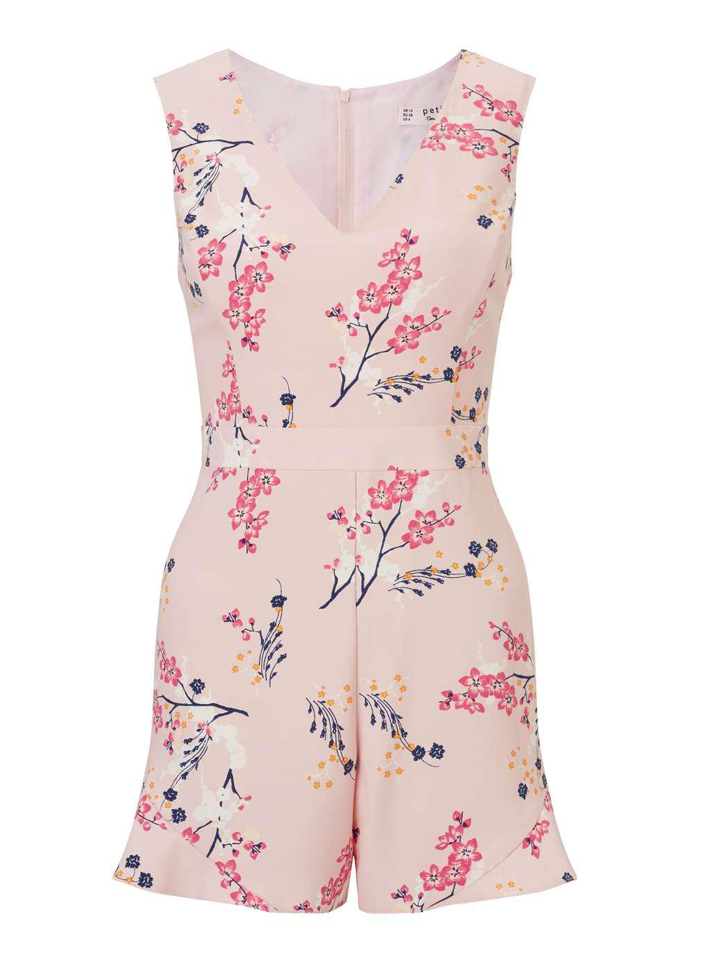 41f7954c88 Lyst - Miss Selfridge Petite Floral Print Ruffle Playsuit in Pink