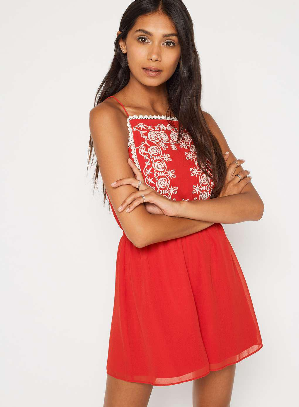 de608dba94d Miss Selfridge Petite Embroidered Playsuit in Red - Lyst