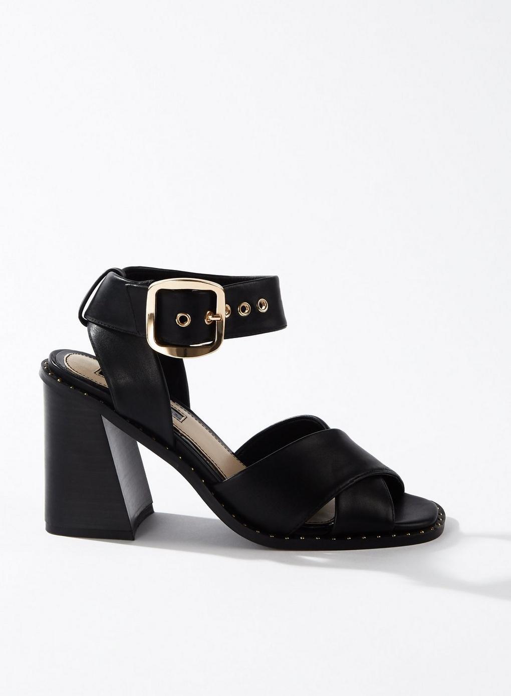 0b819b70fe4 Lyst - Miss Selfridge Saffron Black Buckle Sandals in Black