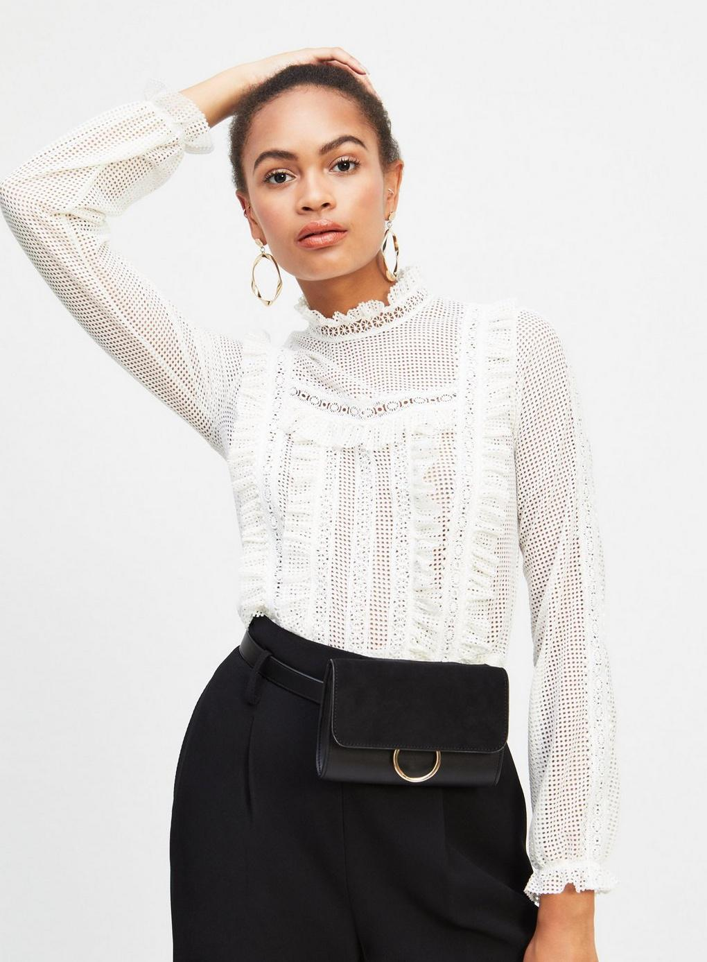 52965a4df2e9a3 Miss Selfridge White Long Sleeve Lace Victoriana Top in White - Lyst