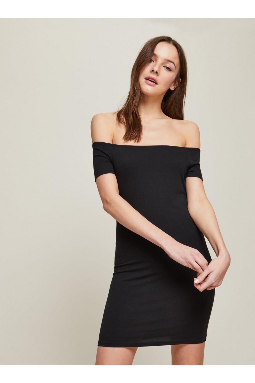 d106574252c4b Miss Selfridge. Women s Petite Black Foldover Bardot Bodycon Dress