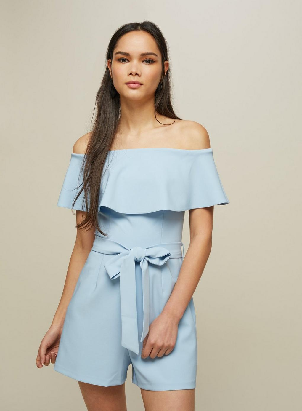 18b0c88a0df Lyst - Miss Selfridge Blue Bardot Frill Playsuit in Blue