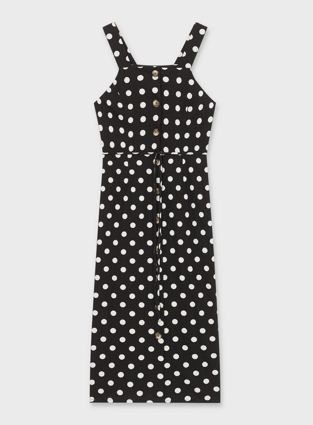 eefac4da5d Miss Selfridge Black Spot Print Pinafore Dress With Linen in Black ...