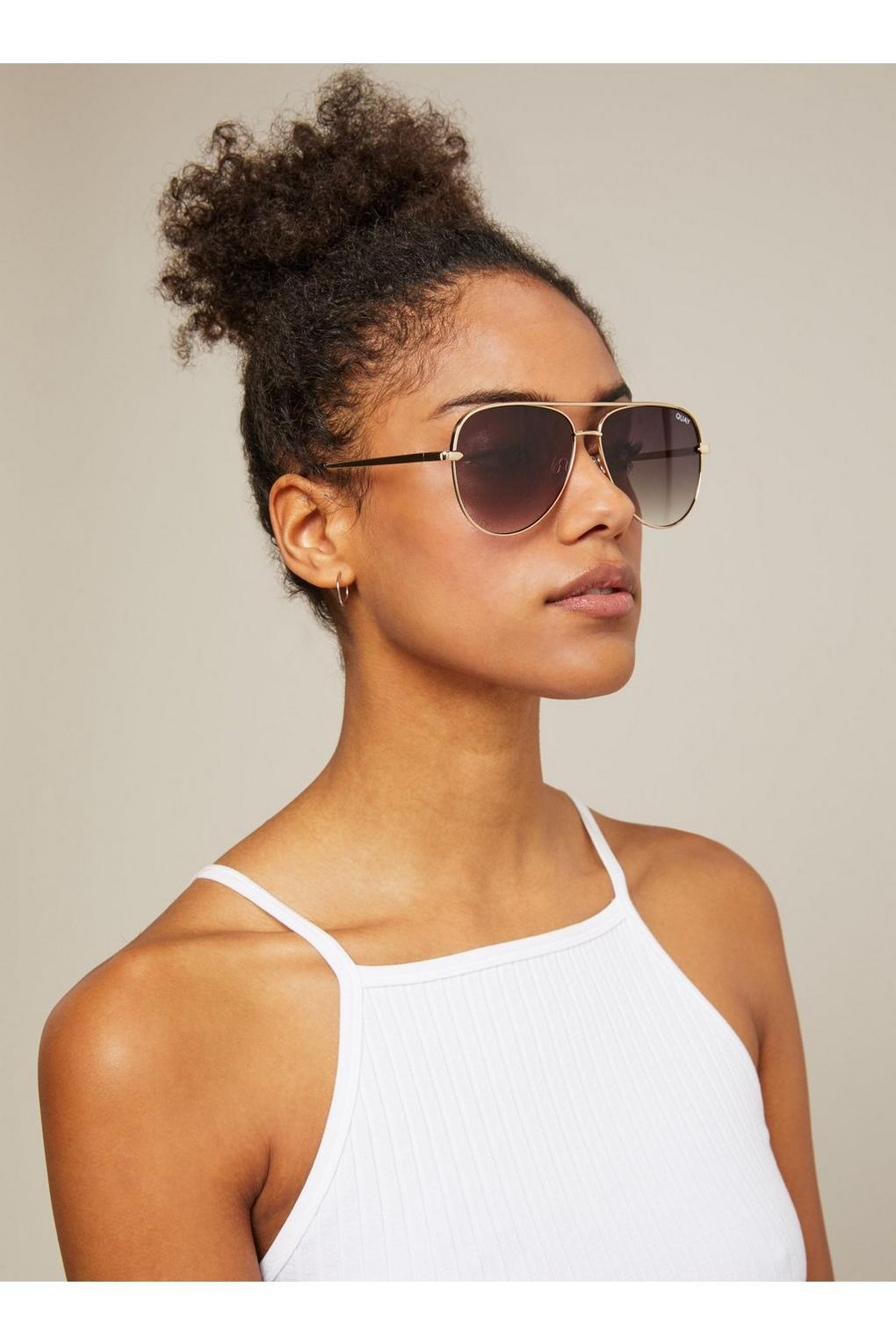 d44875afe7350 Miss Selfridge. Women s Metallic Quay Australia Sahara Matte Gold taupe  Aviator Sunglasses