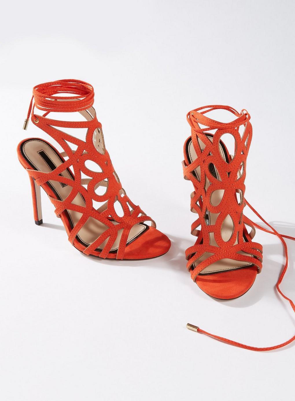 45fe3b941e0b Miss Selfridge - Red Coral Hun Caged Stiletto Heeled Sandals - Lyst. View  fullscreen