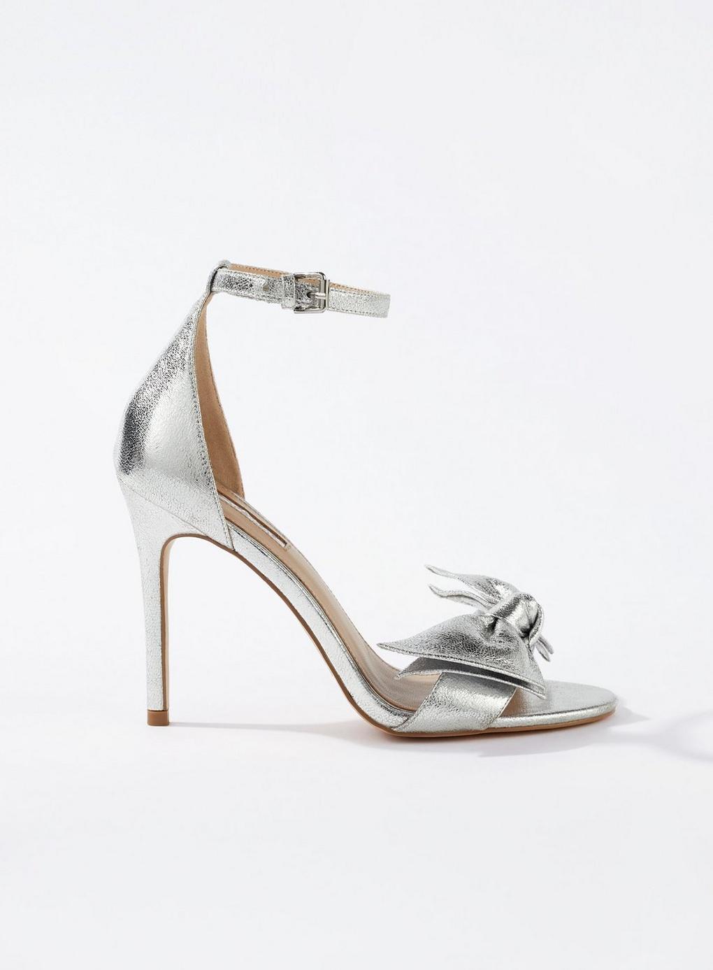ba2a8c917815 Miss Selfridge Hunter Bow Stiletto Heeled Sandals in Metallic - Lyst