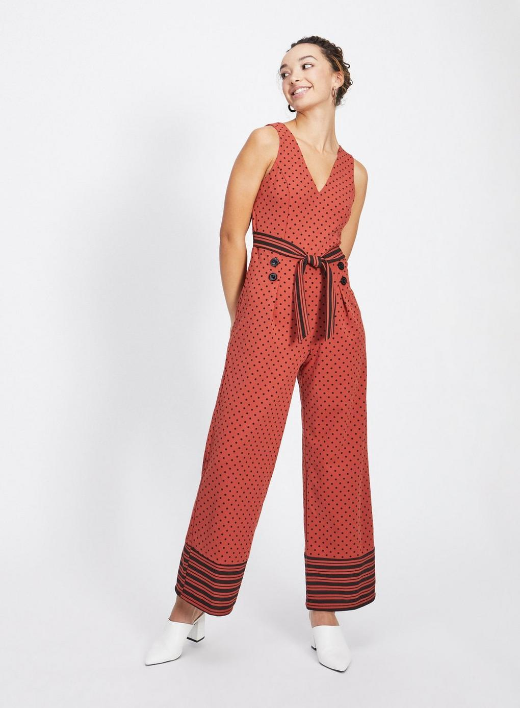 8de64517f77 Miss Selfridge Petite Rust Polka Dot Jersey Jumpsuit in Red - Lyst
