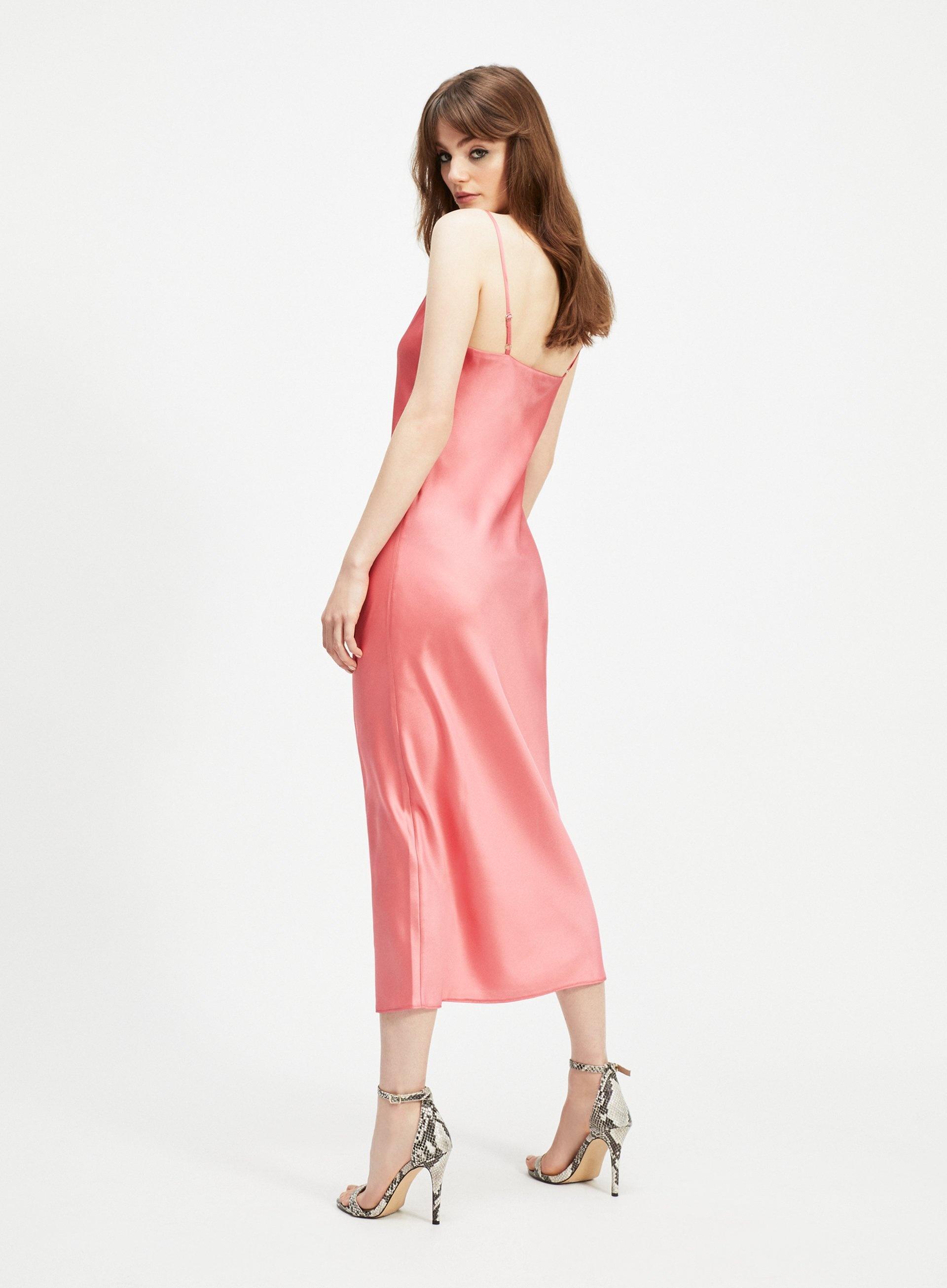 273c2be8a2f9d Miss Selfridge - Pink Coral Cowl Neck Midi Slip Dress - Lyst. View  fullscreen