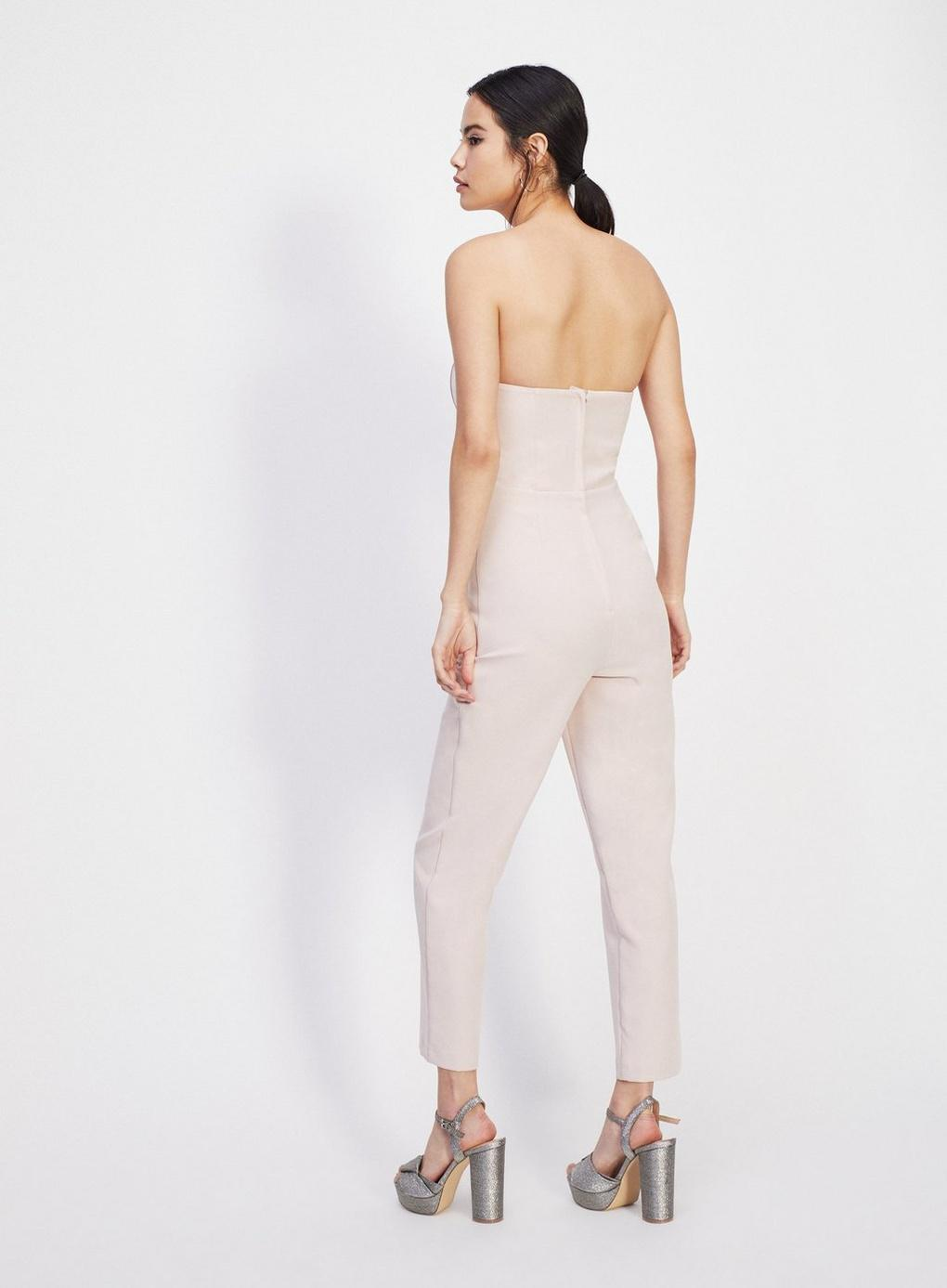 26afc5e8156 Miss Selfridge - Natural Nude Bandeau Pearl Jumpsuit - Lyst. View fullscreen