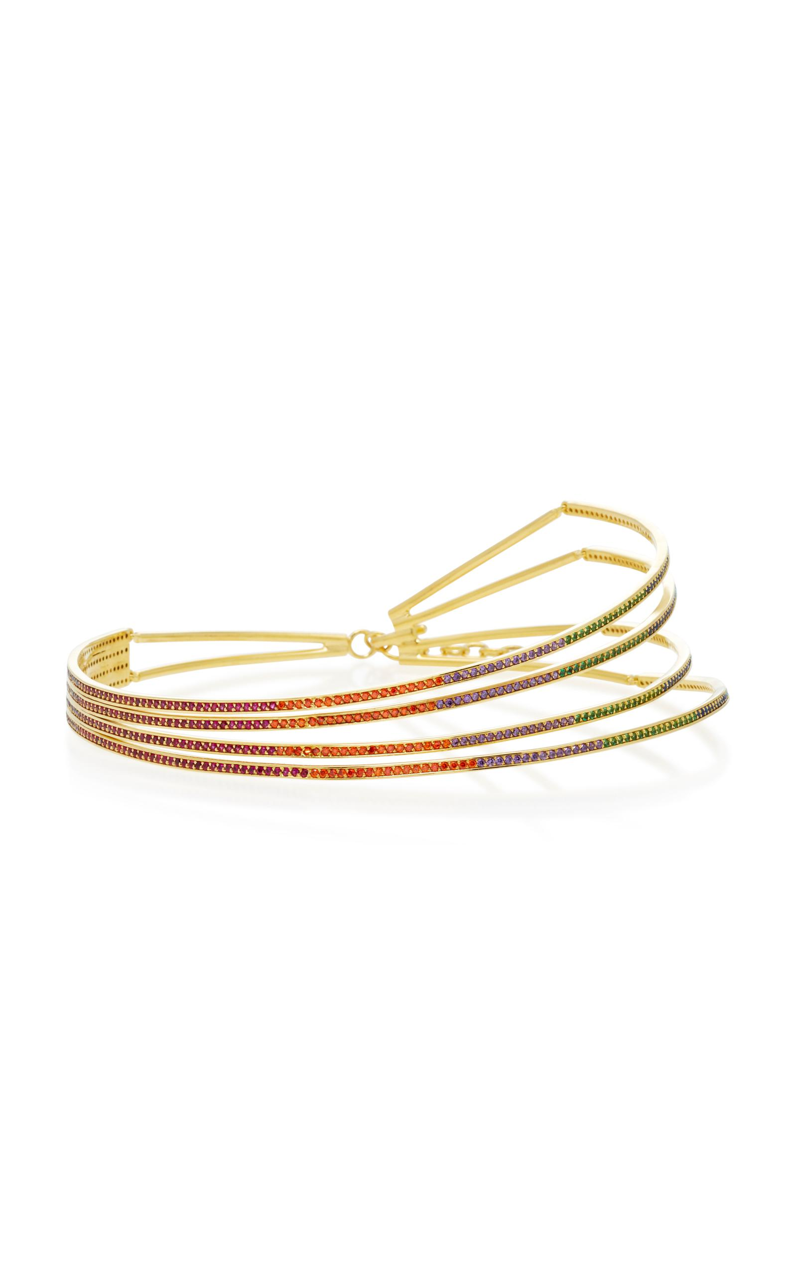 Joanna Laura Constantine Criss Cross Choker Necklace in Multi Gold-Plated Brass with Multicolored Stones baaxeQcNz