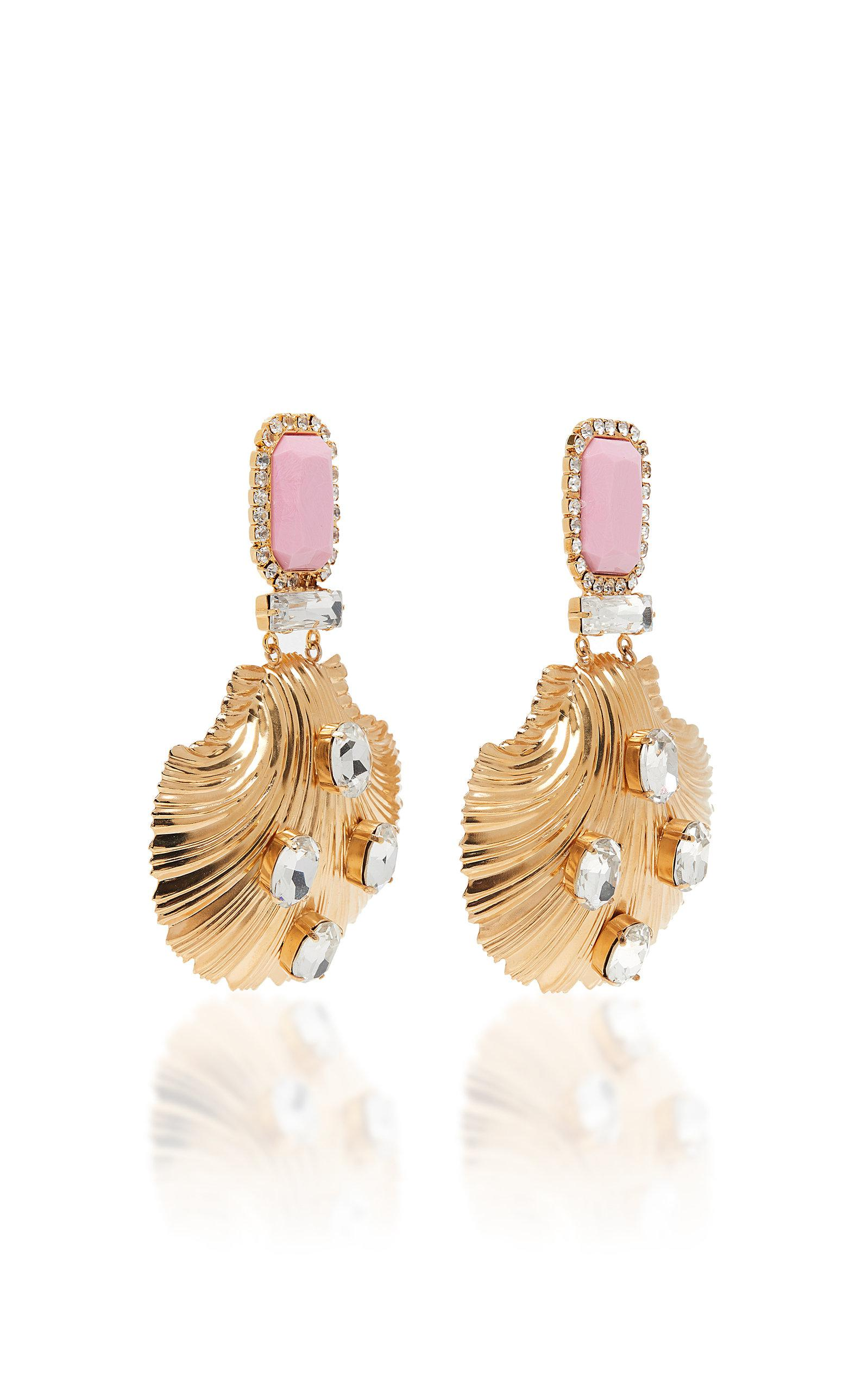 ef837e5a99 Alessandra Rich Pink And Gold Seashell Earrings in Metallic - Lyst