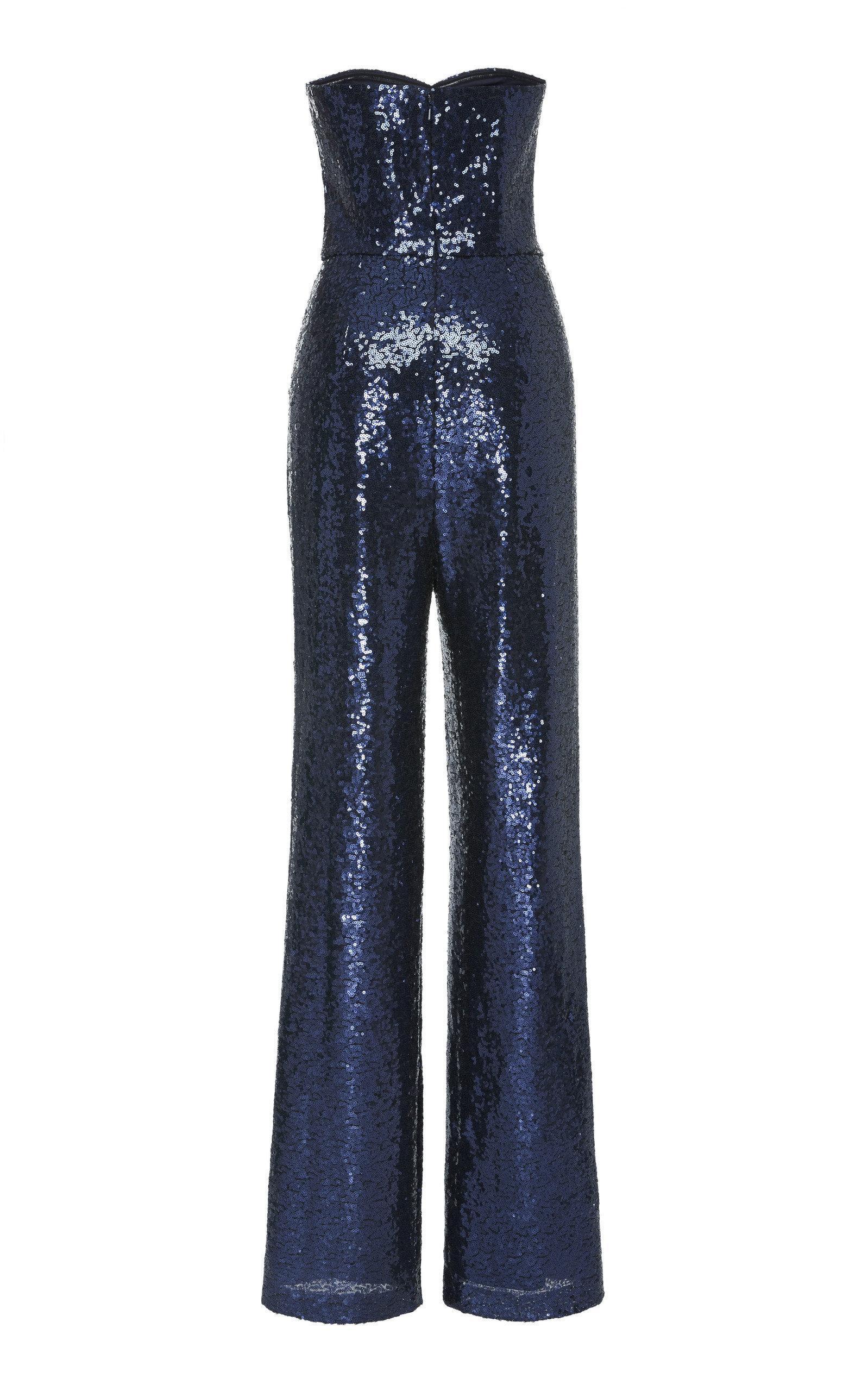 bbef9dbb23 Saloni - Blue Aurelie Strapless Sequin Jumpsuit - Lyst. View fullscreen