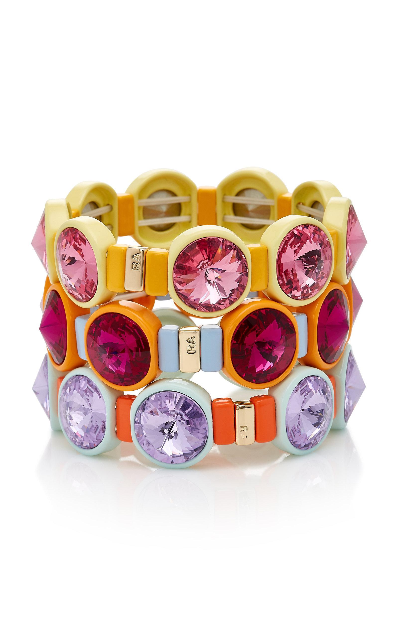Technicolor Set Of Three Enamel And Swarovski Crystal Bracelets - Pink Roxanne Assoulin cL1cT