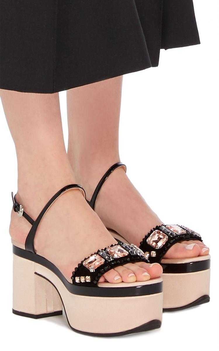 Rochas Crystal Embellished Platform Sandals In Beige Pink