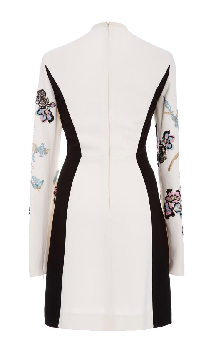 Elie Saab | Multicolor Long Sleeve Embroidered Mini Dress | Lyst