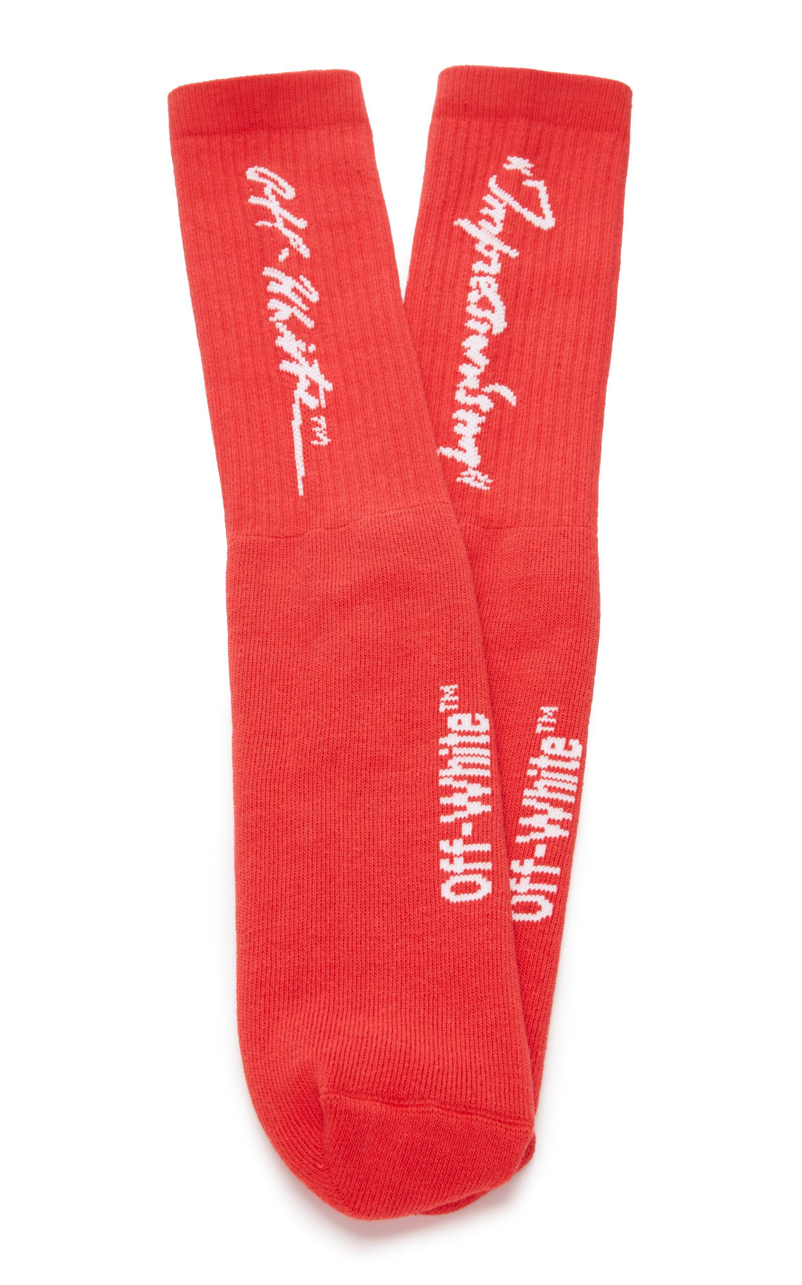 7ae9e1d705ea Lyst - Off-White c o Virgil Abloh Quote Cotton-blend Socks in Red ...