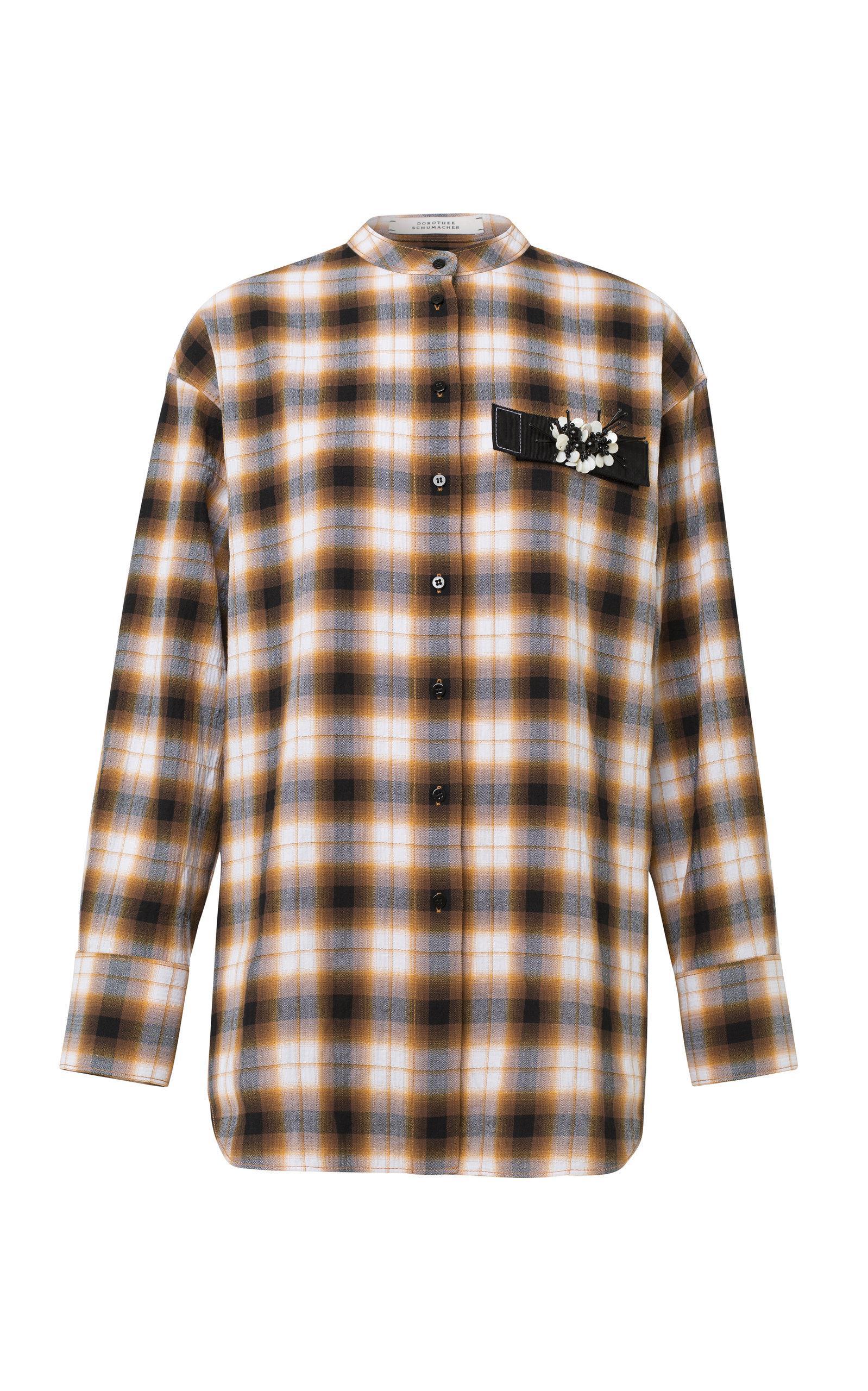 dorothee schumacher fragmented checks long sleeve cotton blend top in orange lyst. Black Bedroom Furniture Sets. Home Design Ideas