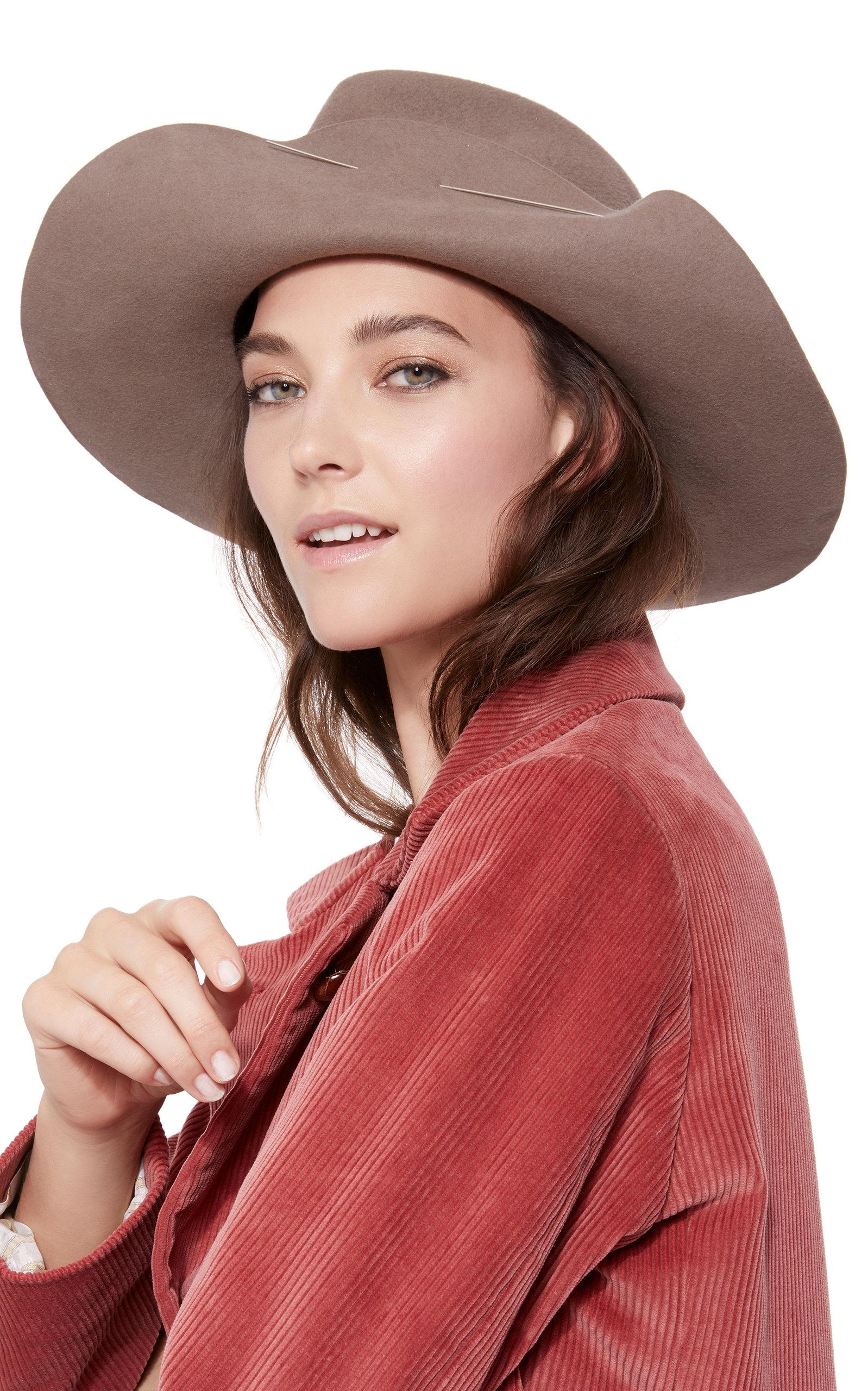 eabdcbd17fec29 Clyde Wide Brim Pinch Hat With Pin in Gray - Lyst