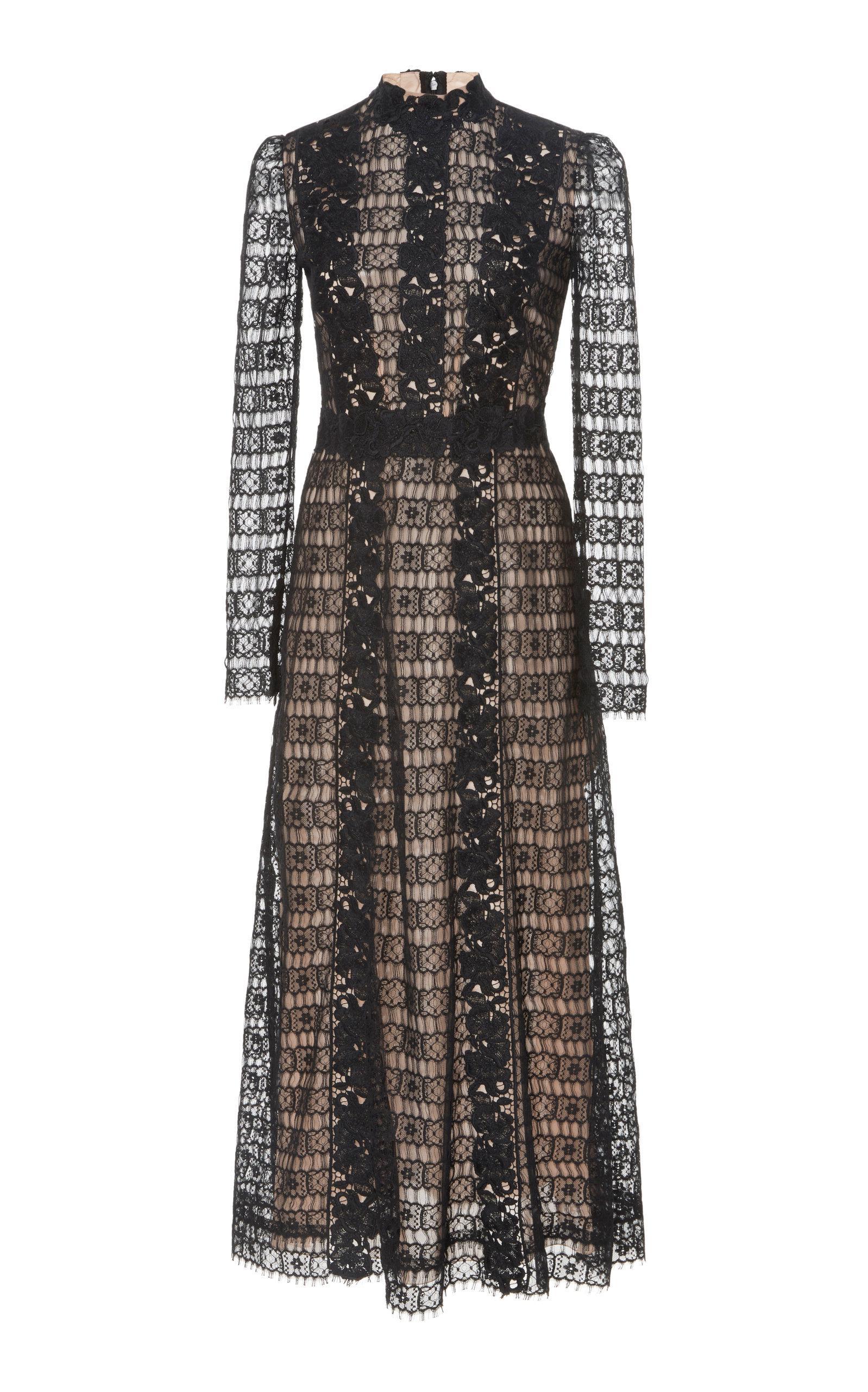 9e93698938 Lyst - Giambattista Valli Long Sleeve Midi Dress in Black