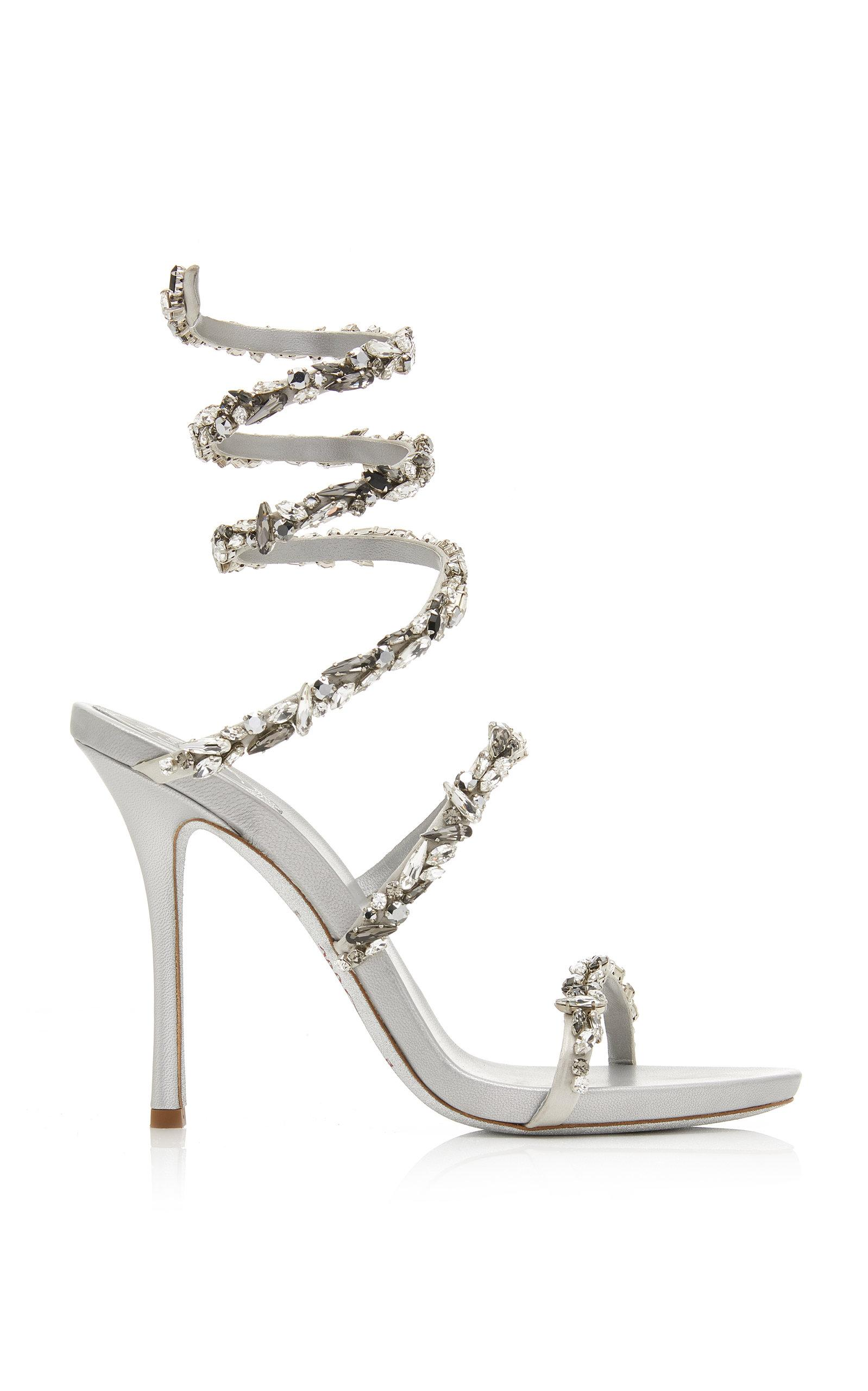 7df077eab Rene Caovilla. Women s Metallic Crystal-embellished Satin Snake-coil Sandals