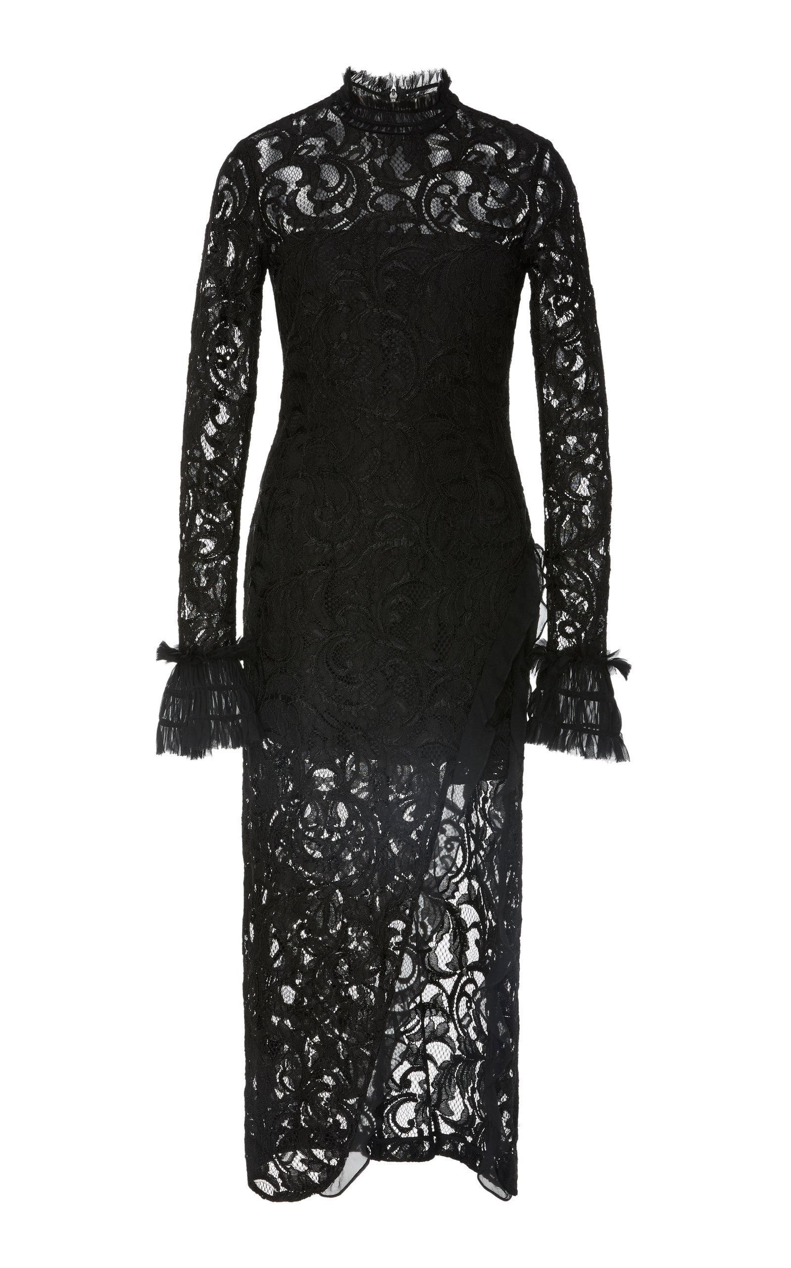 55a93e0a96d10 Alexis Fala Lace Midi Dress in Black - Lyst