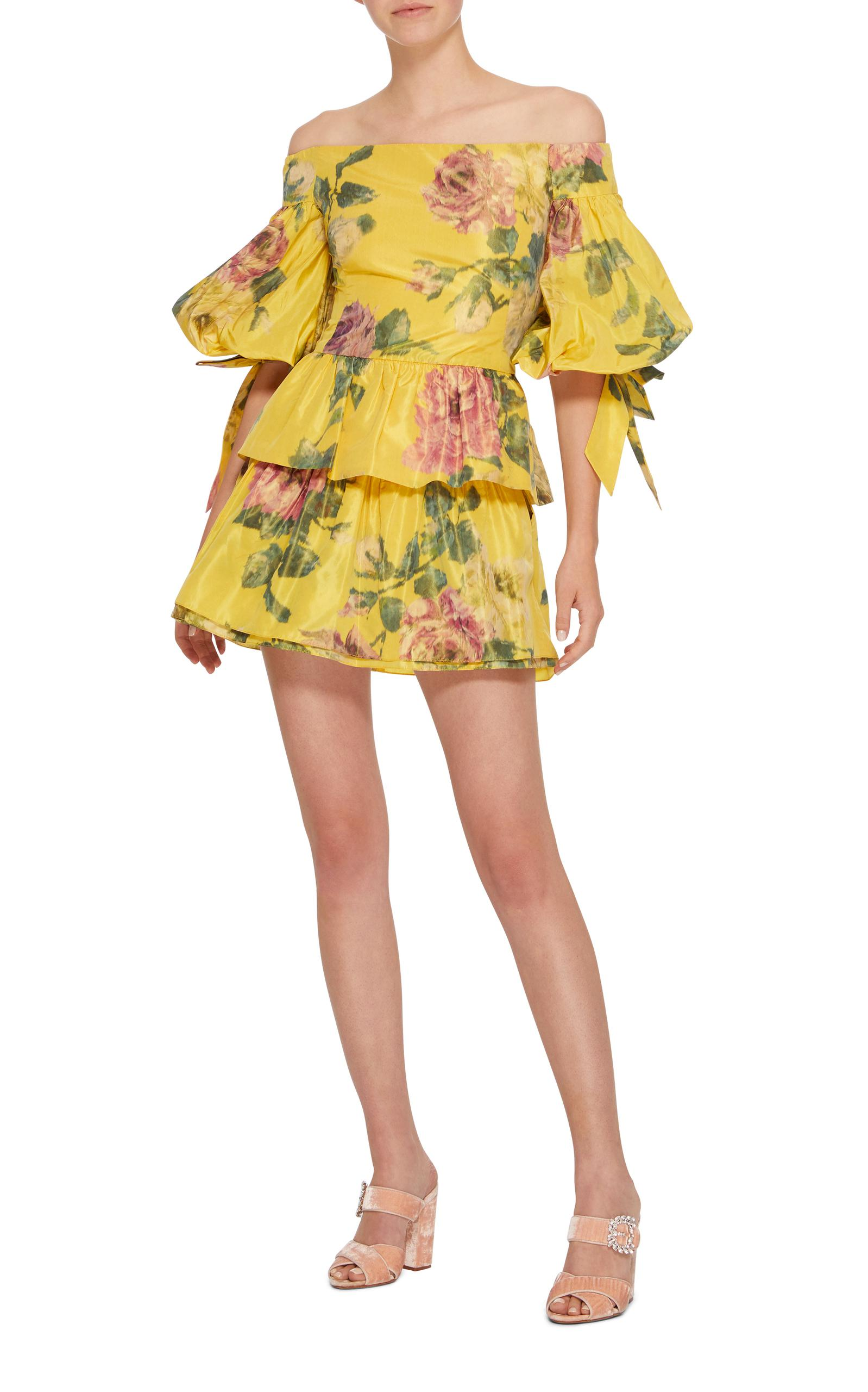 961d790a8173f Lyst - Marchesa Floral Print Off-shoulder Blouse in Yellow