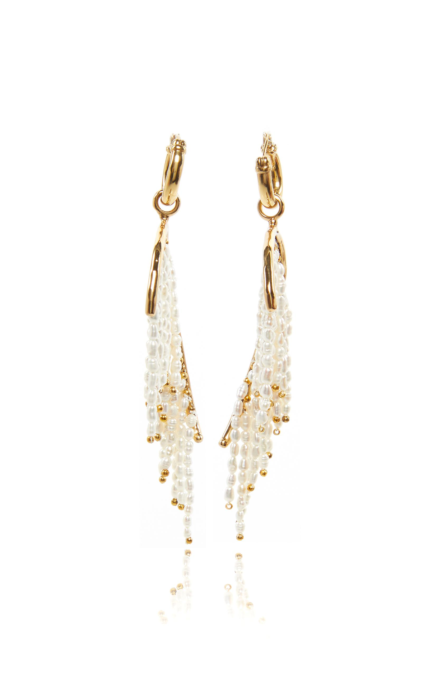 full moda white large fringe chacha operandi babi earrings sachin screen by