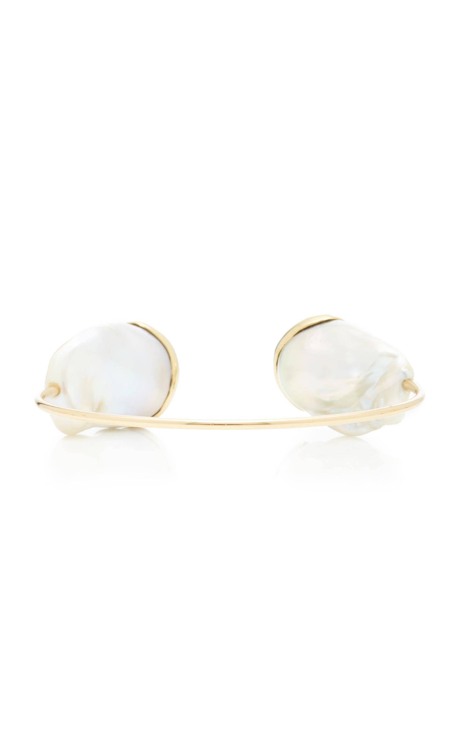 Mizuki Fluid gold pearl cuff UTog5c