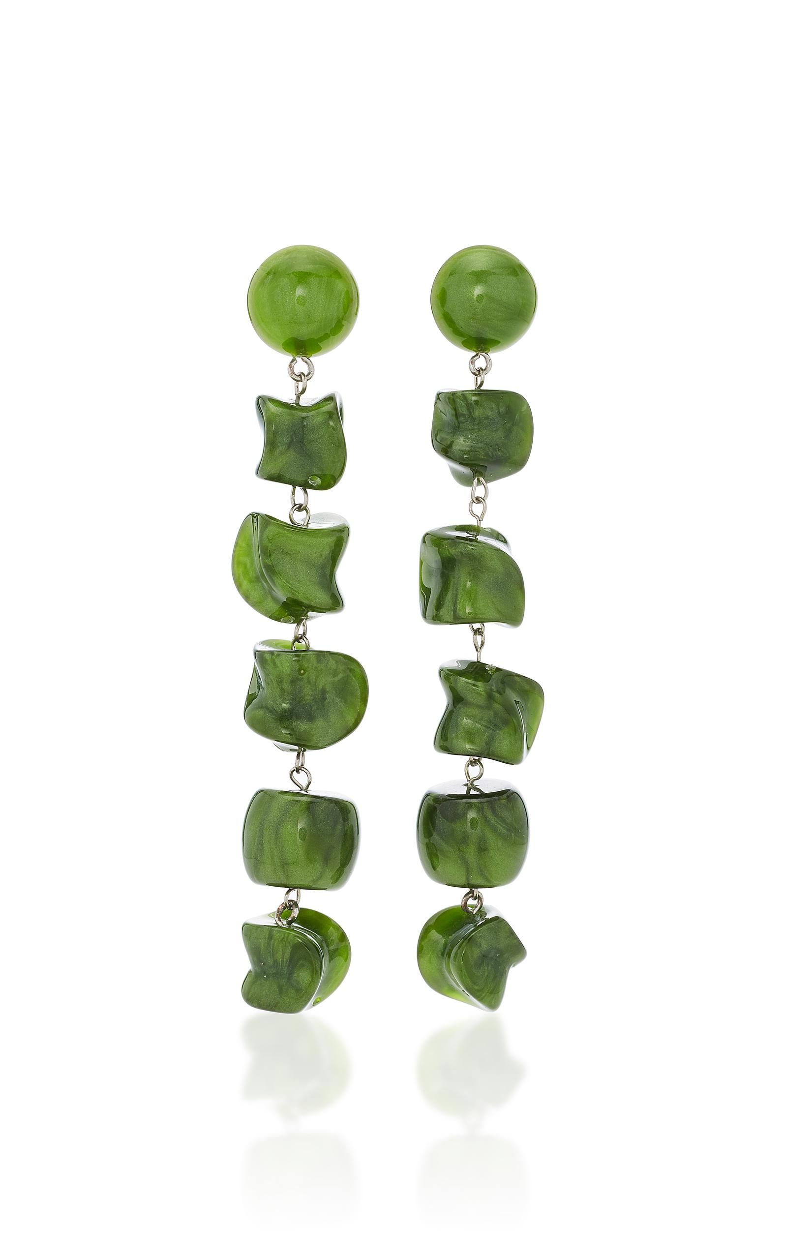 Leo Gold-tone Resin Earrings - Green Cult Gaia chnCInG