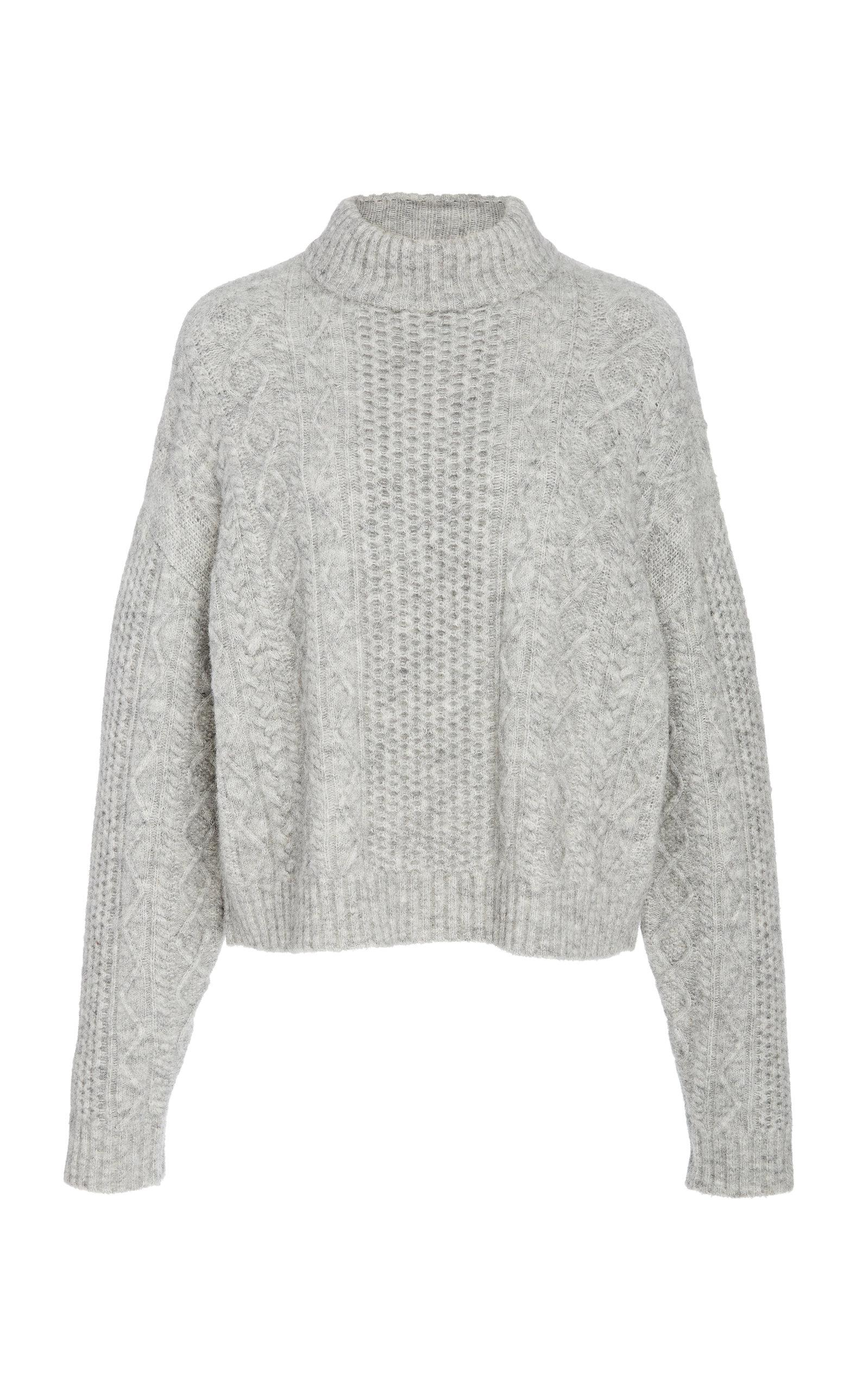 6c48273798d Lyst - Sally Lapointe Cable-knit Mock Neck Sweater in Gray
