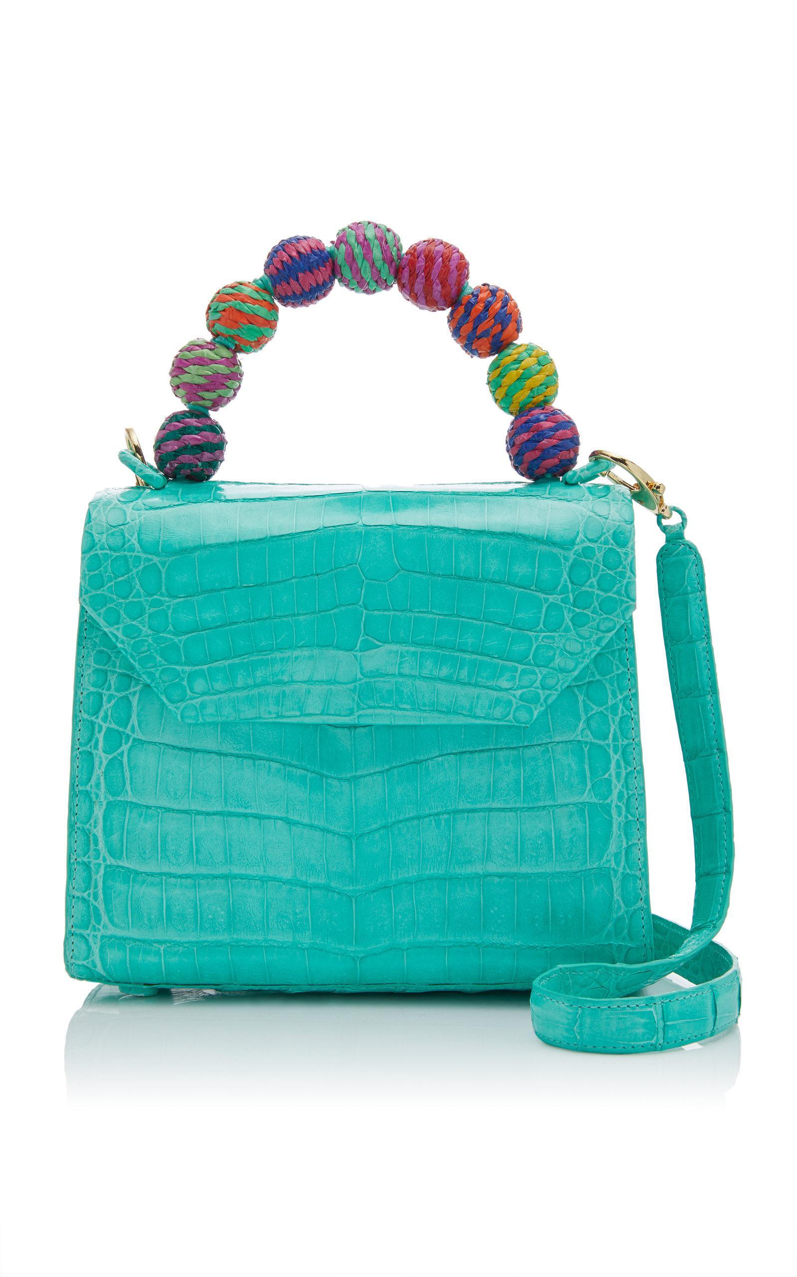 240f3af82ee7 Lyst - Nancy Gonzalez Lily Fiesta Mini Crocodile Top Handle Bag in Blue